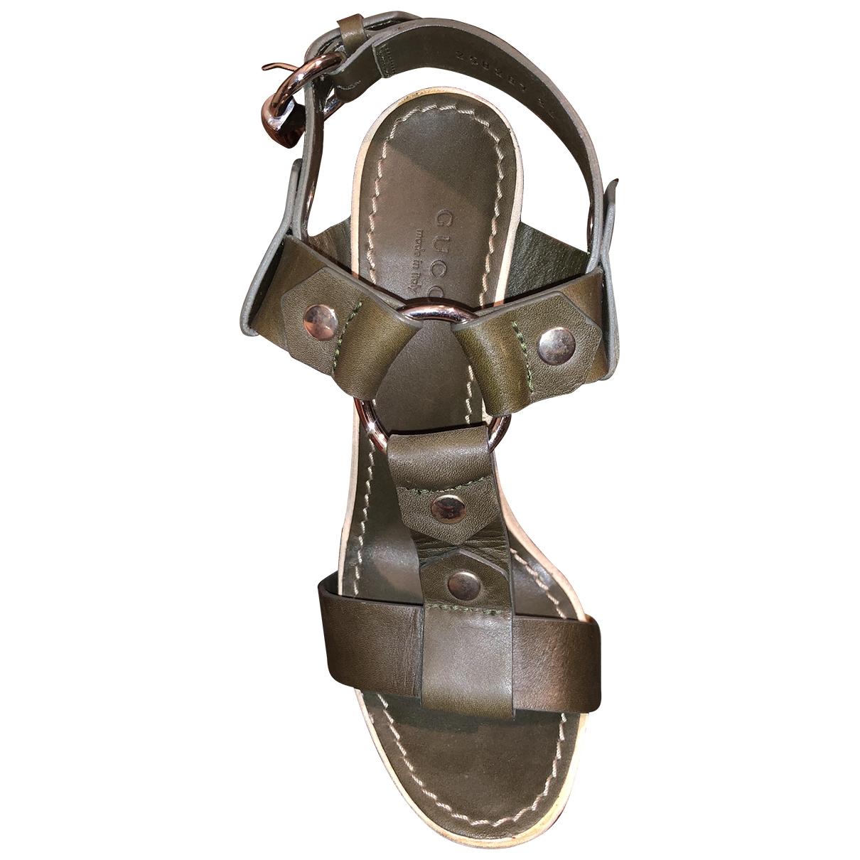Gucci - Sandales   pour femme en cuir - kaki