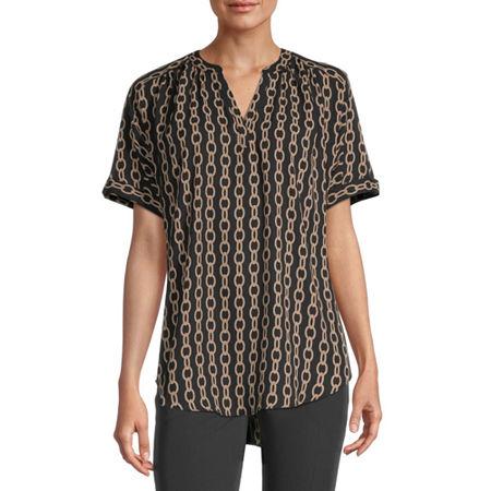 Worthington Womens Y Neck Short Sleeve Tunic Top, X-small , Black