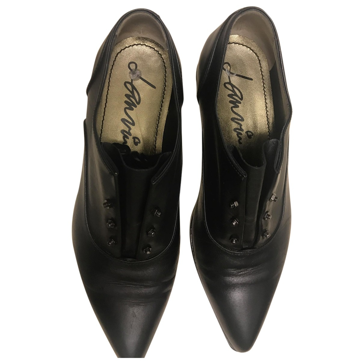 Lanvin \N Black Leather Flats for Women 37 EU