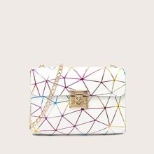 Geometric Graphic Flap Chain Bag
