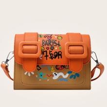 Cartoon Graphic Flap Crossbody Bag