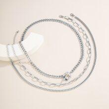 3 Stuecke Einfarbige Halskette mit Kette