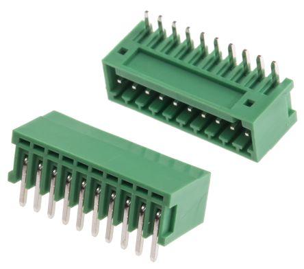 RS PRO , 10 Way, 1 Row, Right Angle PCB Terminal Block Header (10)