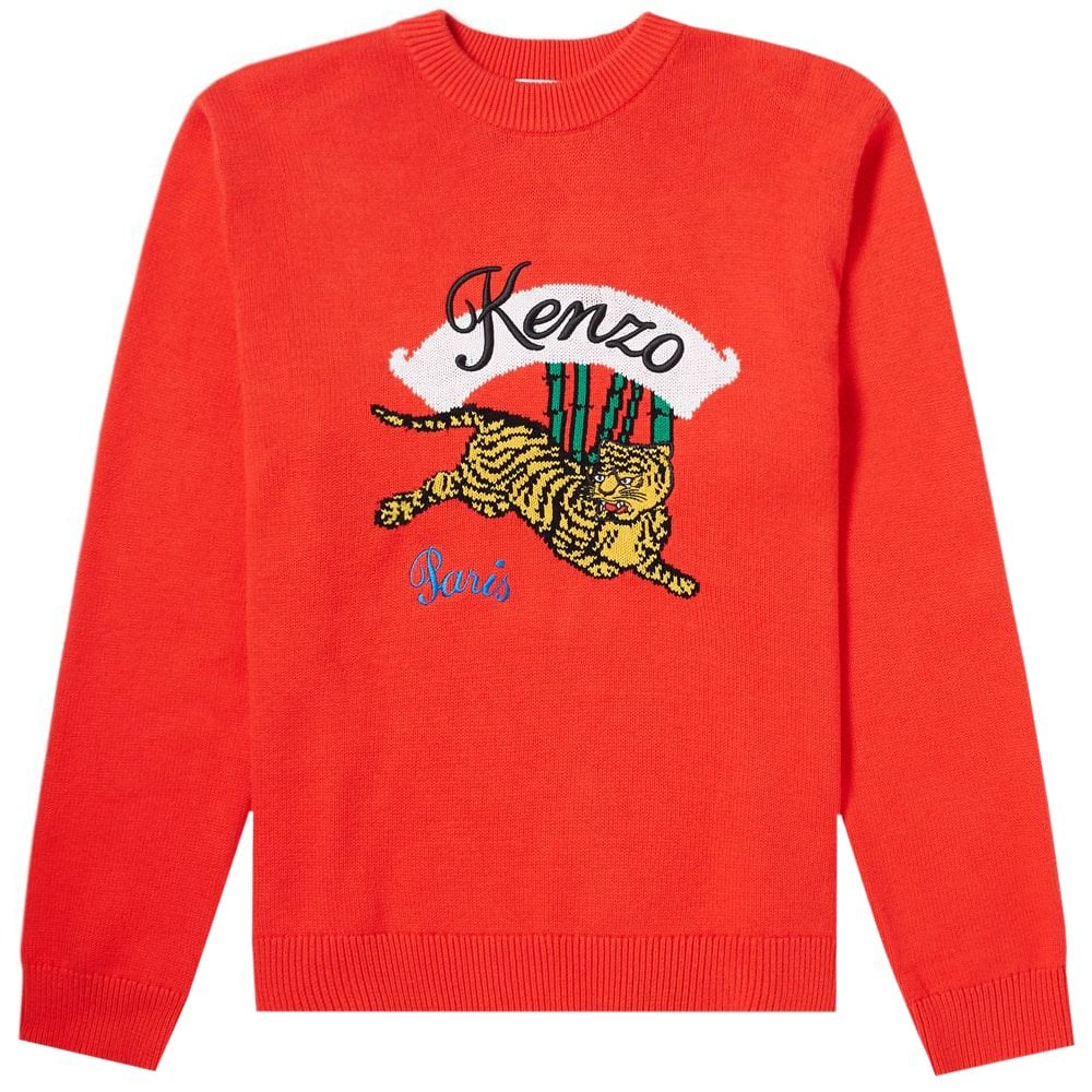 Kenzo Jumping Tiger Knitted Jumper Red Colour: RED, Size: SMALL