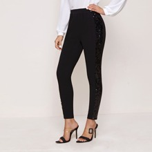 Sequin Panel Cropped Skinny Pants