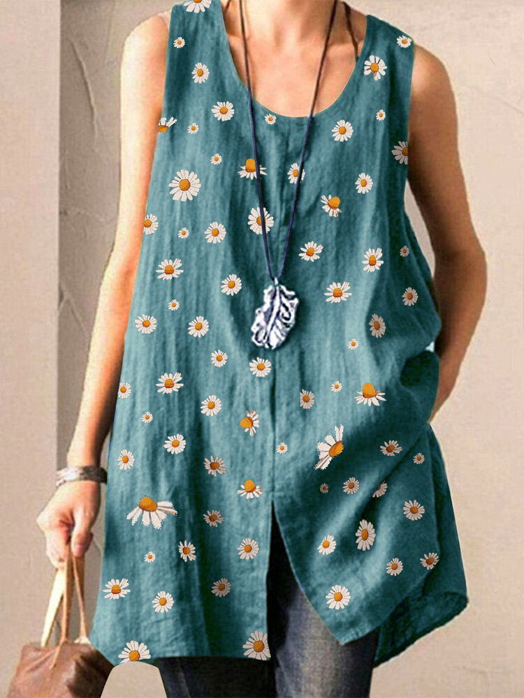 Daisy Print Split Sleeveless Plus Size Tank Top