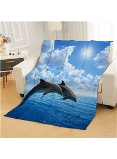 Dolphins Under The Blue Sky Flannel Bed Blanket Reactive Printing Polyester Blanket
