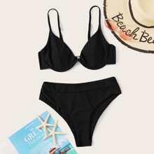 Bañador de bikini de cintura alta con aros