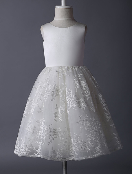 Milanoo Ivory Puffy Pricness Flower Girl Dress With Satin Bodice And Lace Skirt