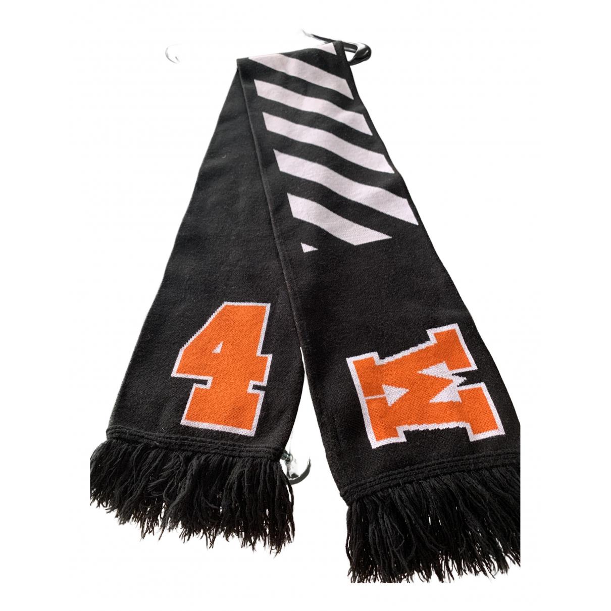 Off-white N Black Wool scarf & pocket squares for Men N