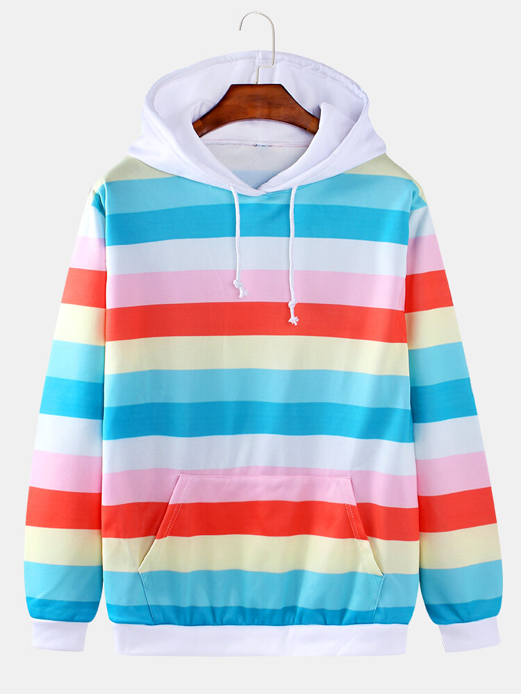 Mens Colorful Horizontal Stripes Casual Drawstring Hoodies With Kangaroo Pocket