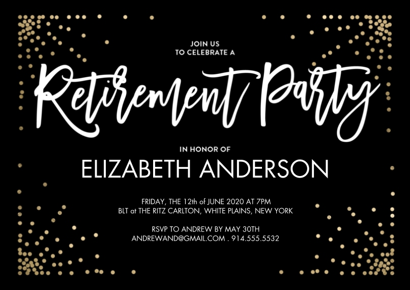 Retirement Cards 5x7 Cards, Premium Cardstock 120lb with Rounded Corners, Card & Stationery -Retirement Party Sparkling