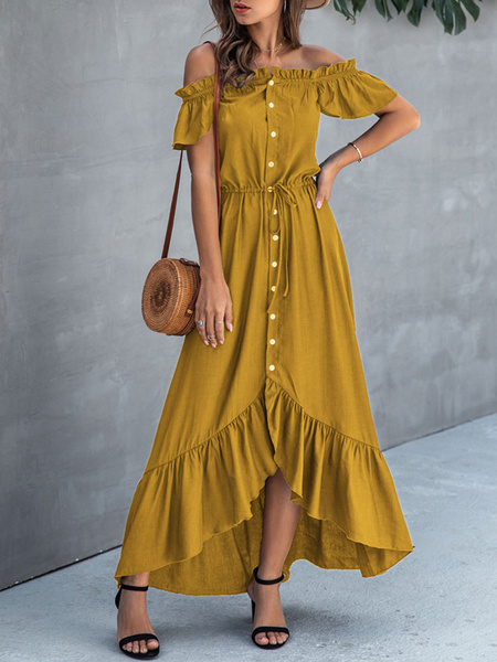 Milanoo Summer Dress Green Solid Color Bateau Neck Chiffon Beach Dress