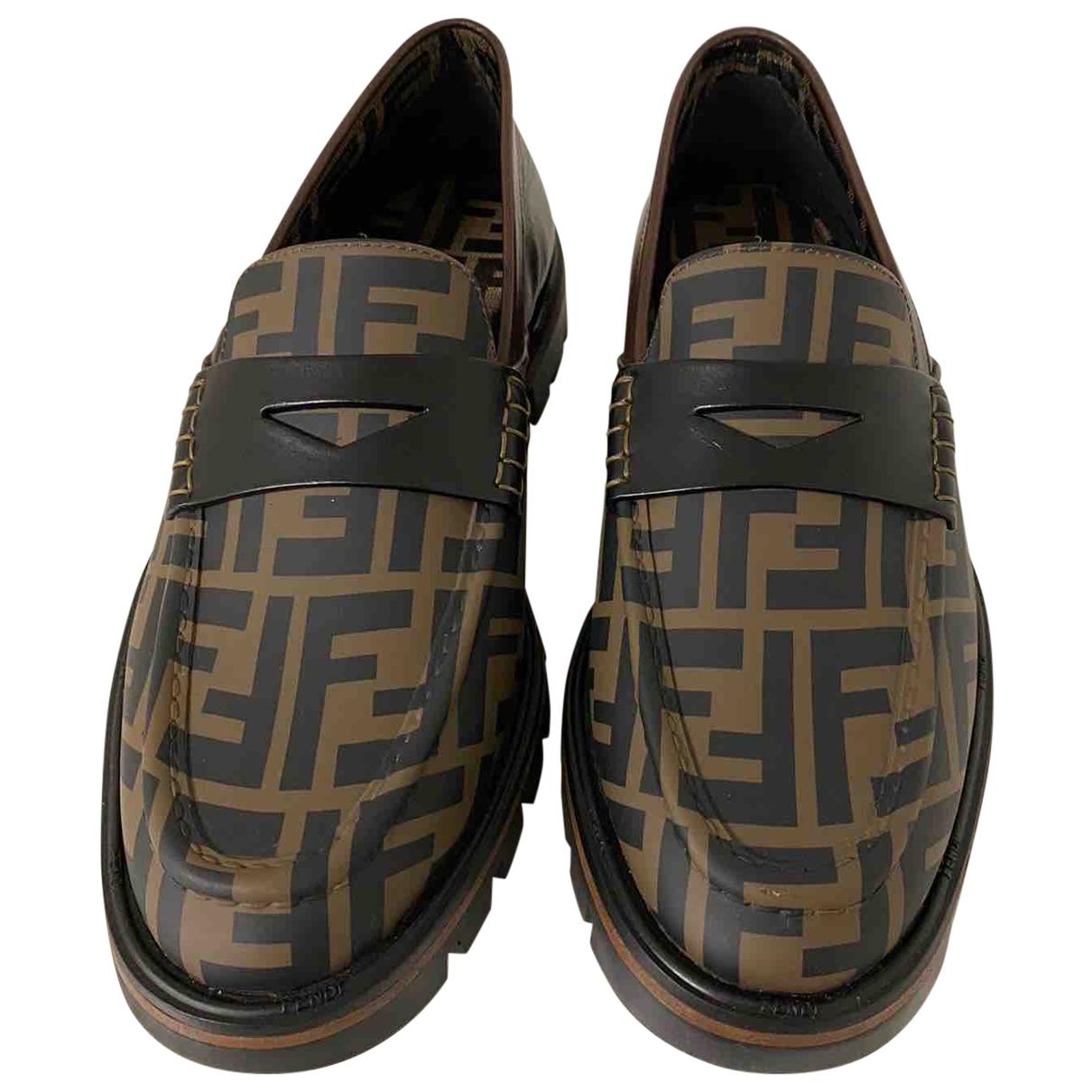 Fendi N Brown Leather Flats for Men 43 EU