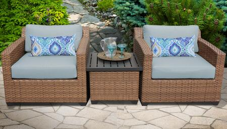 Laguna Collection LAGUNA-03a-SPA 3-Piece Patio Wicker Set with 1 End Table and 2 Club Chairs - Wheat and Spa