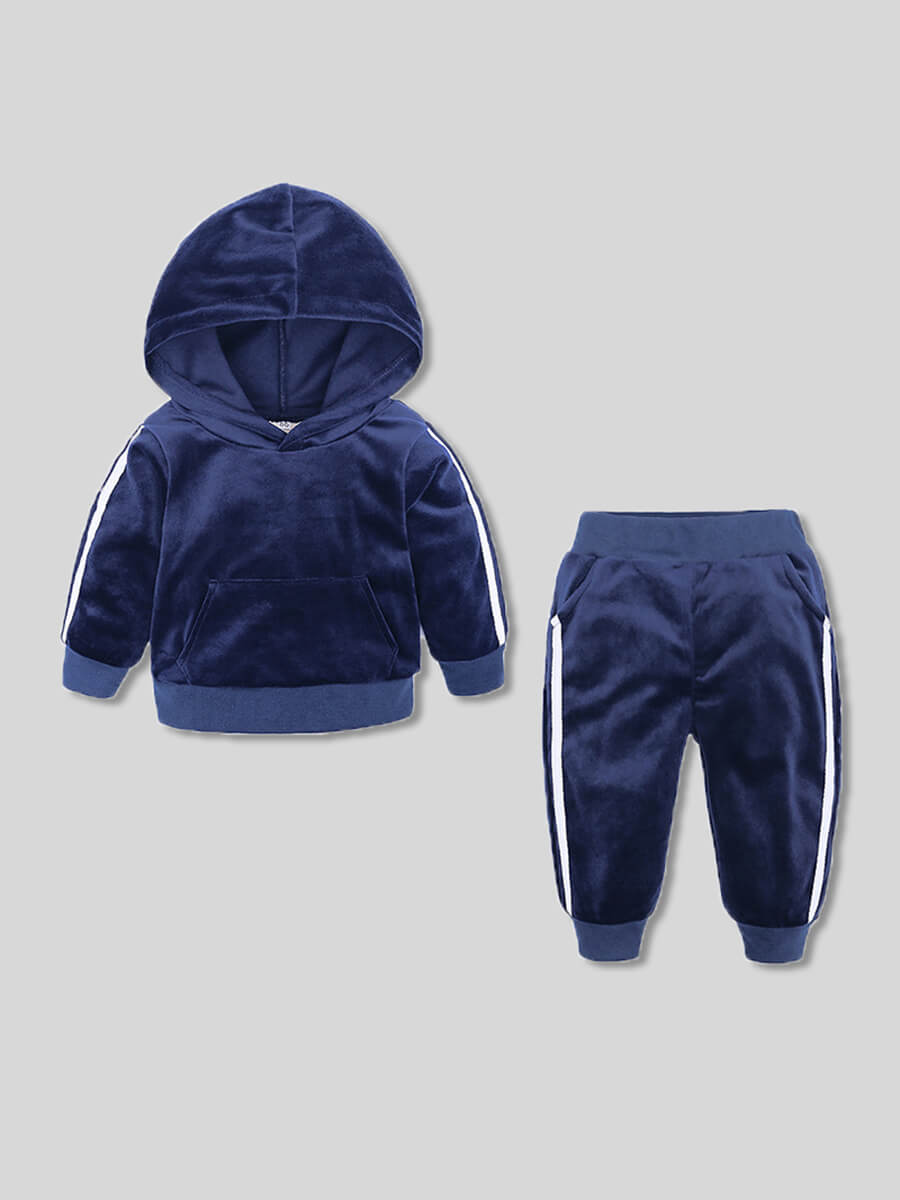 LW Lovely Sportswear Hooded Collar Patchwork Blue Girl Two-piece Pants Set