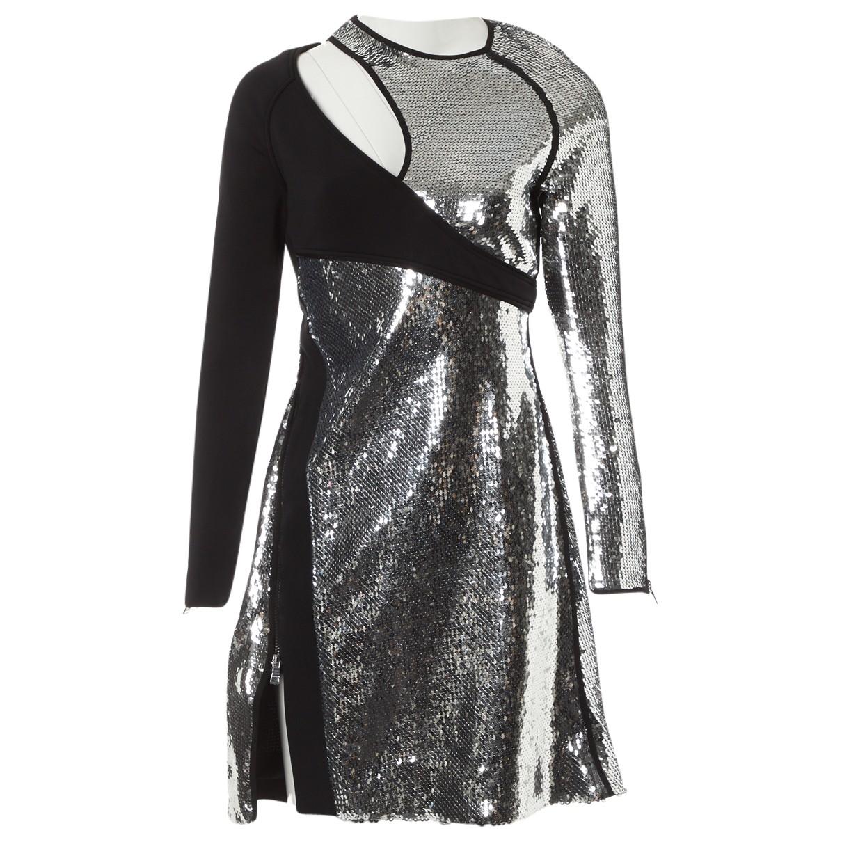 Mugler \N Kleid in  Silber Mit Pailletten