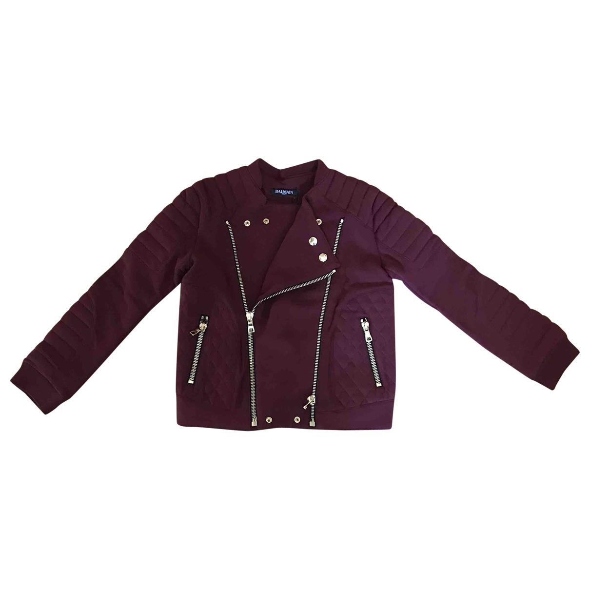 Balmain \N Burgundy Cotton jacket & coat for Kids 10 years - up to 142cm FR