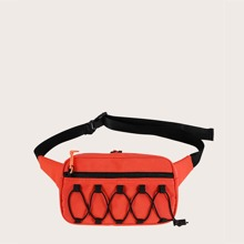 Drawstring Decor Zip Front Fanny Pack