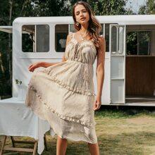 vestido de tirante floral de margarita con cinturon ribete fruncido de cuello con cordon