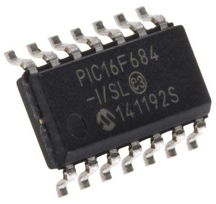 Microchip PIC16F684-I/SL, 8bit PIC Microcontroller, PIC16F, 20MHz, 2048 x 14 words, 256 B Flash, 14-Pin SOIC