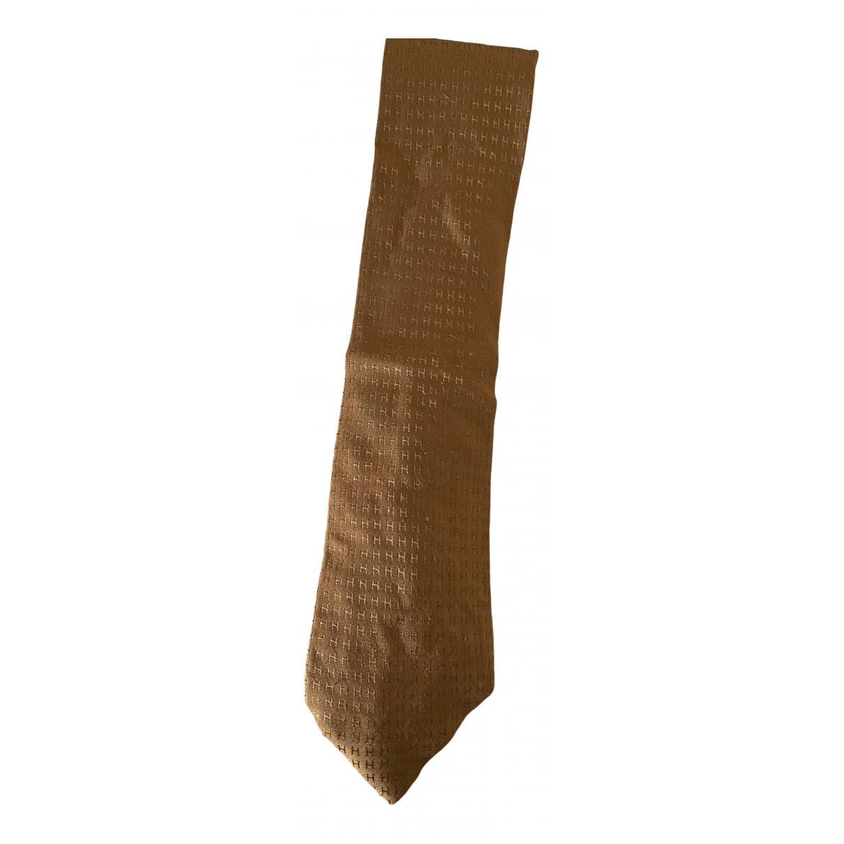 Hermes \N Krawatten in  Kamel Seide