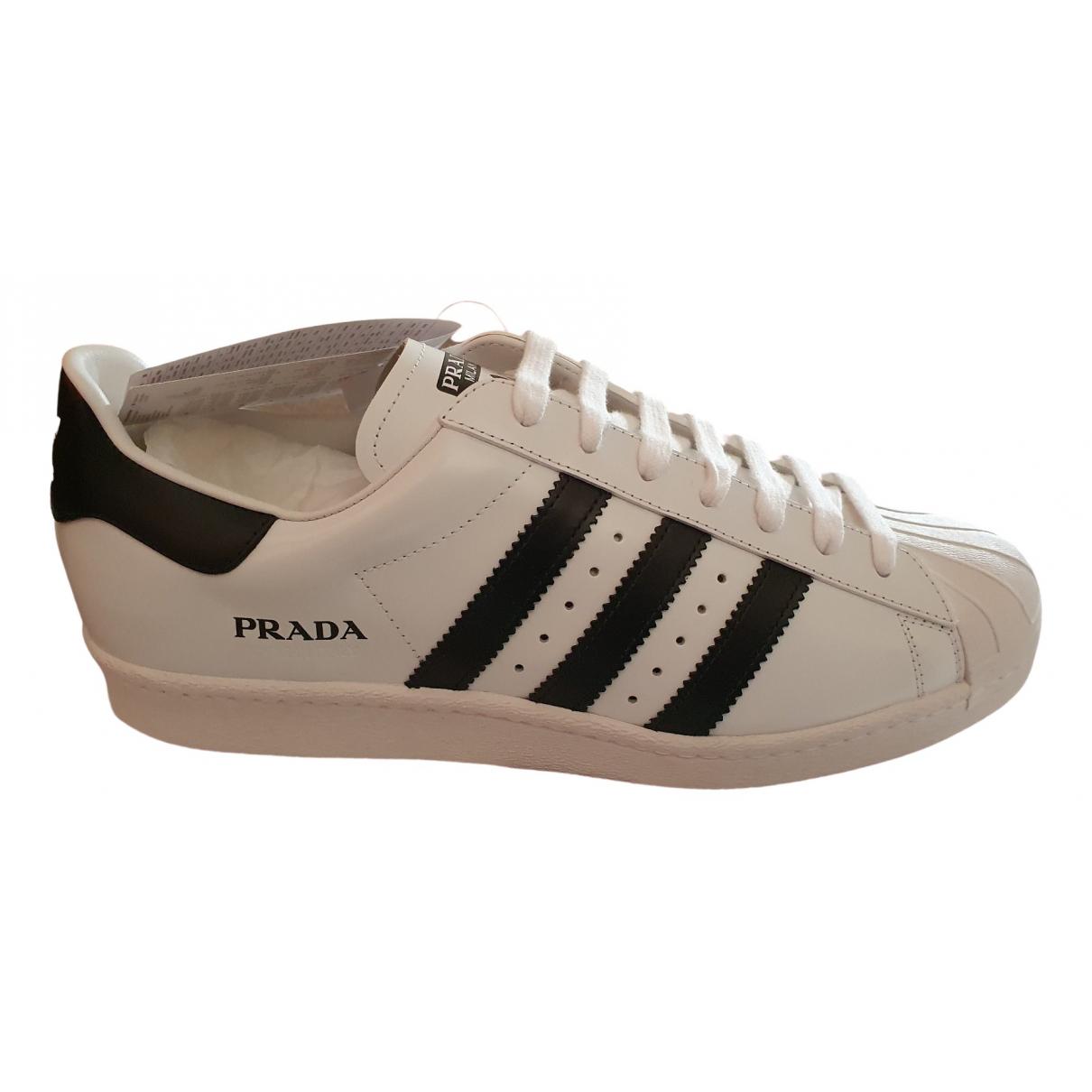 Prada X Adidas - Baskets   pour homme en cuir - blanc