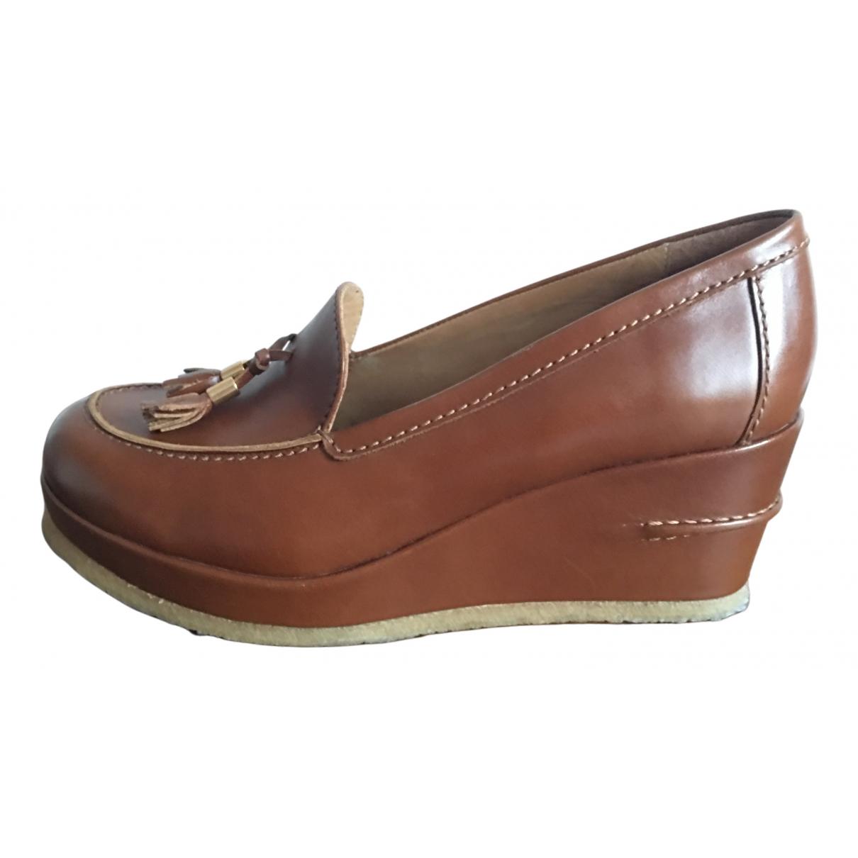 Apc N Camel Leather Flats for Women 41 EU
