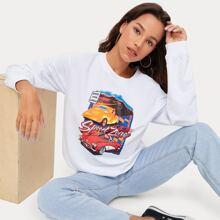 Letter Car Graphic Sweatshirt
