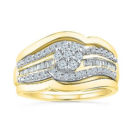 Womens 1/3 CT. T.W. Genuine White Diamond 10K Gold Bridal Set, 6 , No Color Family