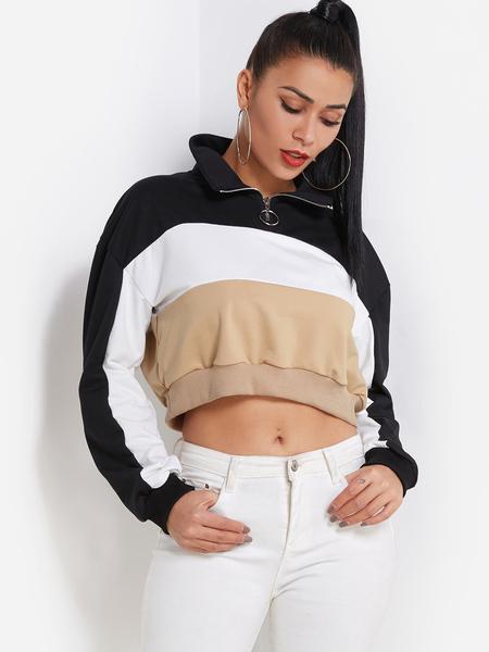 Yoins Colorblock Zipper Front Pullover Crop Sweatshirt in Khaki