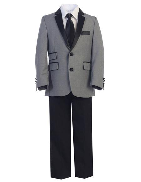 Boys Gray ~ Grey and Black Lapel Kids Toddler Suits (Tuxedo Looking)