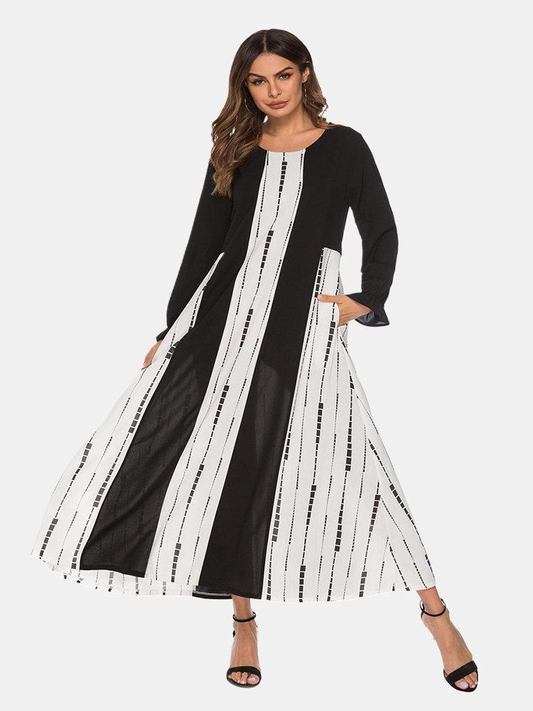 Patchwork Irregular Print Plus Size Dress for Women