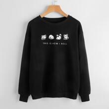Slogan Panda Graphic Sweatshirt
