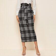 Falda de cuadros con cinturon de cintura con volante