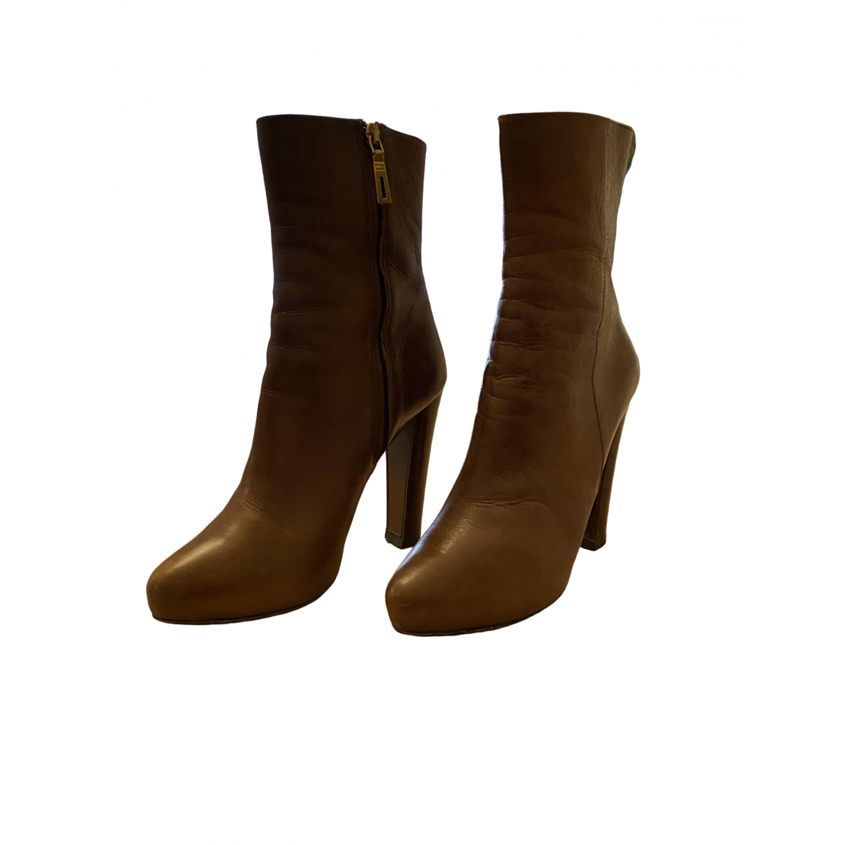 Prada \N Brown Leather Ankle boots for Women 37.5 IT