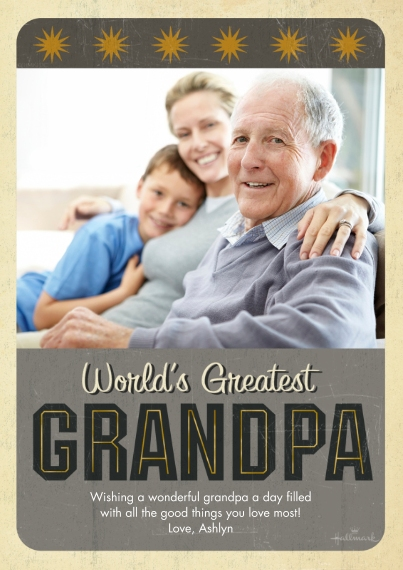 Father's Day 5x7 Cards, Premium Cardstock 120lb with Elegant Corners, Card & Stationery -World's Greatest Grandpa