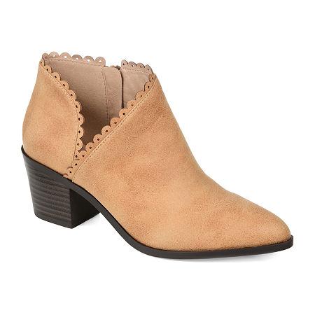 Journee Collection Womens Tessa Stacked Heel Booties, 12 Medium, Beige
