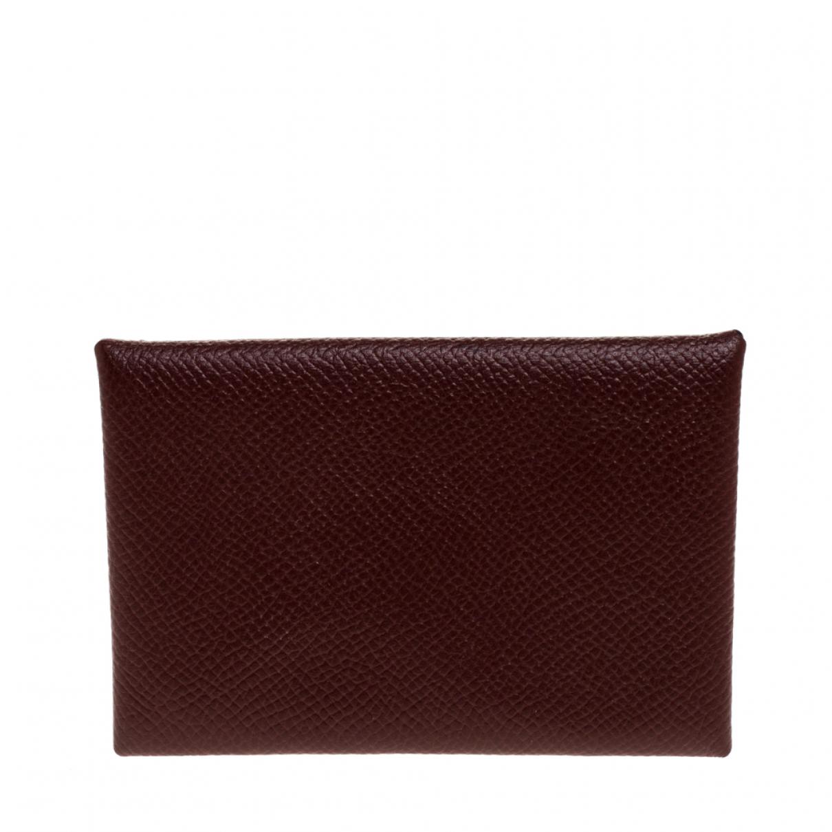 Hermes - Petite maroquinerie Calvi pour femme en cuir - bordeaux