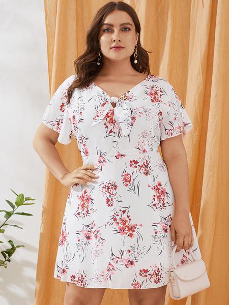 Yoins Plus Size White Random Floral Print V-neck Ruffle Trim Dress
