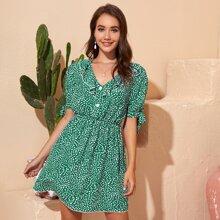 Kleid mit Raffungsaum, Knoten und Punkten Muster