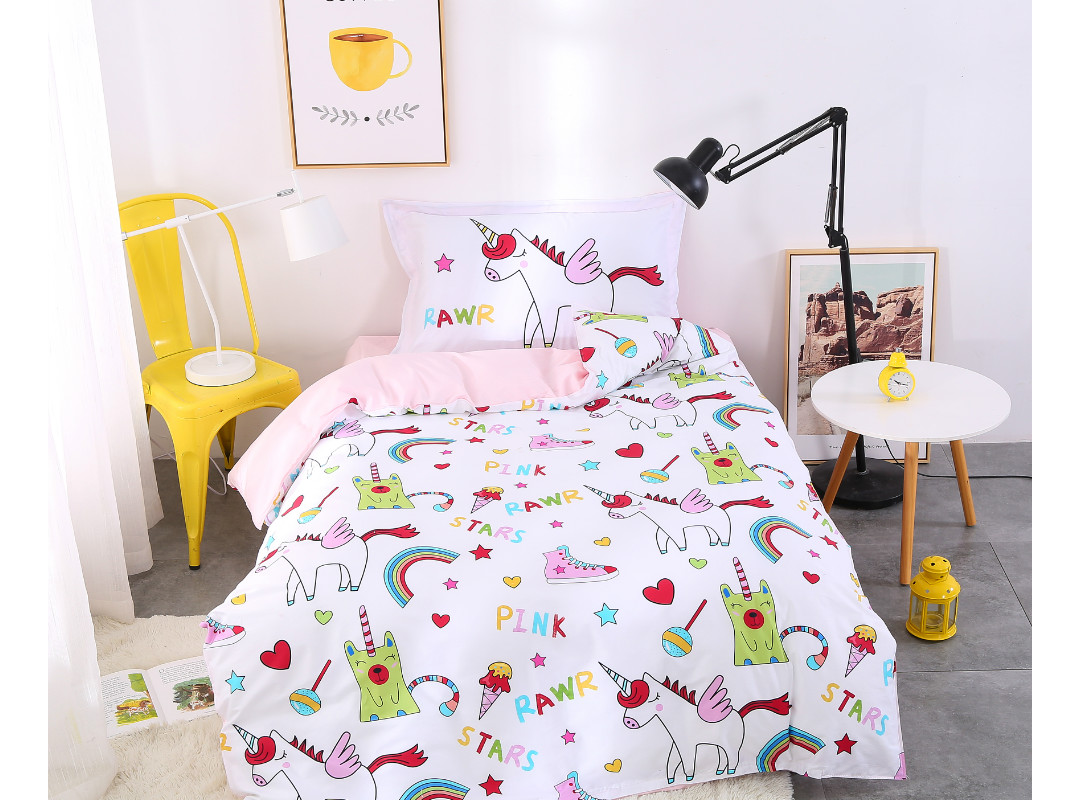 Cartoon Pink Pony 3 Pieces Cotton Bedding Sets/Duvet Covers