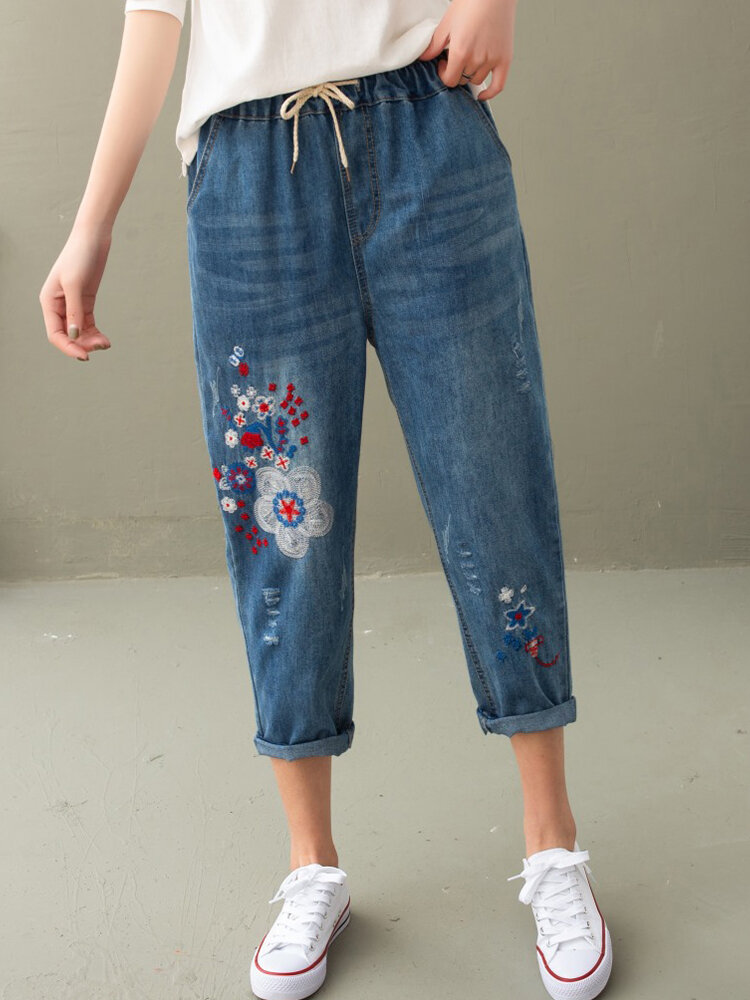 Flower Embroidered Drawstring Waist Jeans For Women