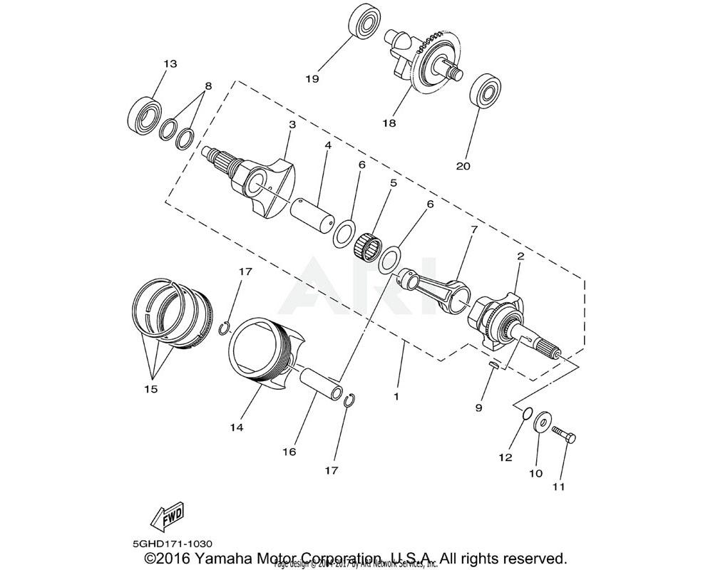 Yamaha OEM 5GH-11636-00-00 PISTON (0.50MM O/S)   AP