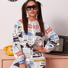 Plus Zip Up Drawstring Hem Newspaper Print Hooded Jacket & Biker Shorts Set