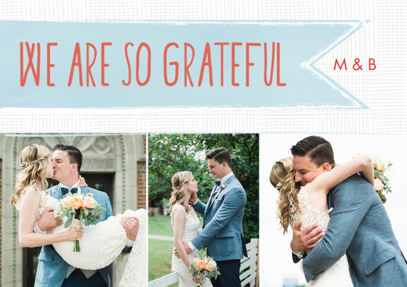 Wedding Thank You 5x7 Cards, Premium Cardstock 120lb with Scalloped Corners, Card & Stationery -Hanging Banner Thank You