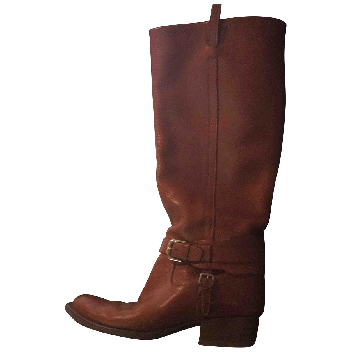 Ralph Lauren Collection - Bottes   pour femme en cuir - marron