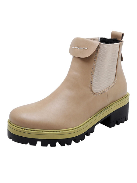 Milanoo Women Ankle Boots PU Leather Yellow Round Toe 2 Chelsea Boots