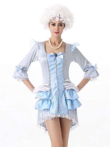 Milanoo Disfraz Halloween Disfraces de mujer trajes de encaje jacquard volantes arcos Marie Antonieta vestido corto traje Carnaval Halloween