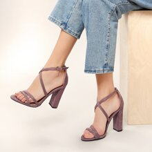 Ankle Strap Open Toe Chunky Heel Sandals